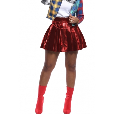 Lovely Casual Ruffle Design Red Mini Skirt