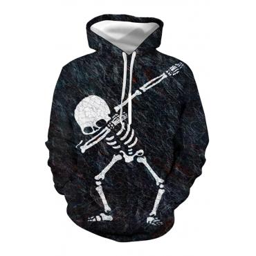 Lovely Casual Hooded Collar Skull Printed Black Hoodie