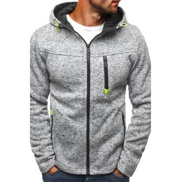Lovely Casual Hooded Collar Zipper Design Light Grey Hoodie