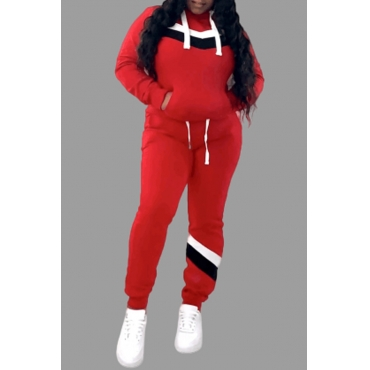 Lovely Casual Hooded Collar Patchwork Red Plus Size Two-piece Pants Set