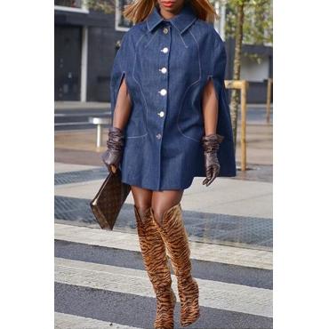 Lovely Casual Turndown Collar Cloak Design Blue Mini Dress