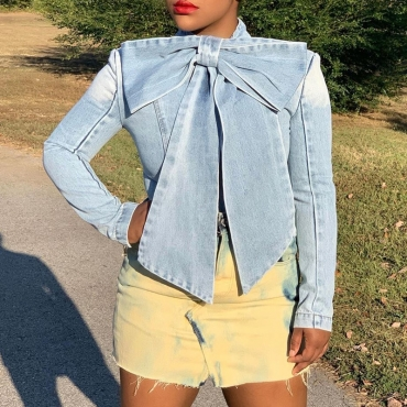 Lovely Chic Mandarin Collar Bow-Tie Denim Shirt Long Sleeves Size S To XXXL
