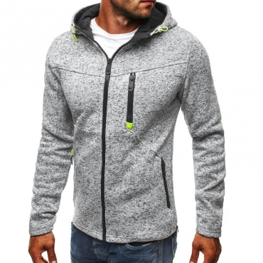 Lovely Casual Hooded Collar Zipper Design Light Grey Hoodie