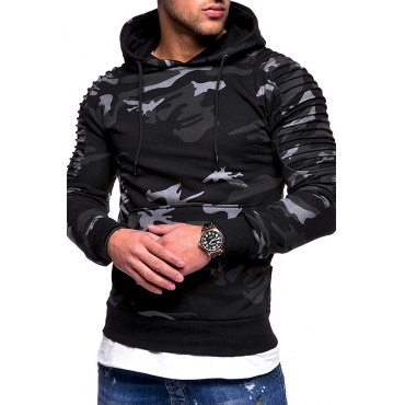 Lovely Casual Hooded Collar Ruffle Design Dark Grey Hoodie