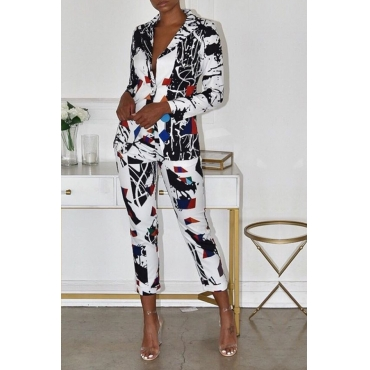 Lovely Trendy Printed Multicolor Two-piece Pants Set