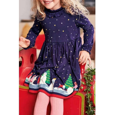Lovely Sweet Dot Printed Dark Blue Knee Length Girls Dress