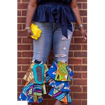 Lovely Trendy Flounce Design Blue Plus Size Pants