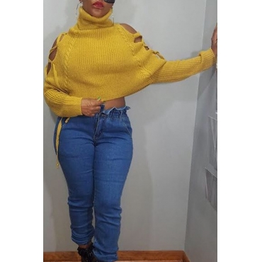 Lovely Casual Turtleneck Hollow-out Yellow Sweater