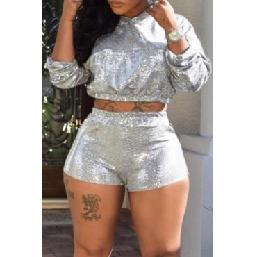Lovely Trendy Crop Top Silver Two-piece Shorts Set