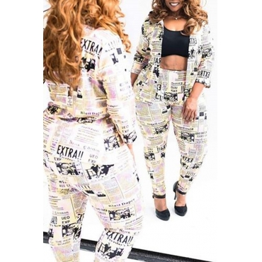 Lovely Casual Letter Printed Yellow Plus Size Two-piece Pants Set