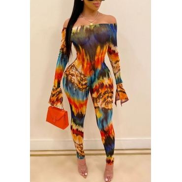 Lovely Trendy Dew Shoulder Multicolor One-piece Jumpsuit