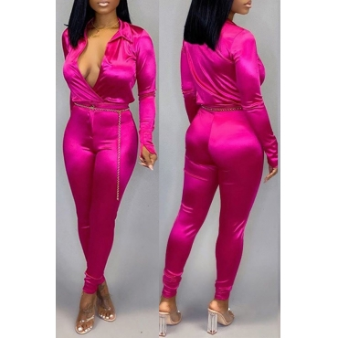 Lovely Trendy Deep V Neck Rose Red Two-piece Pants Set