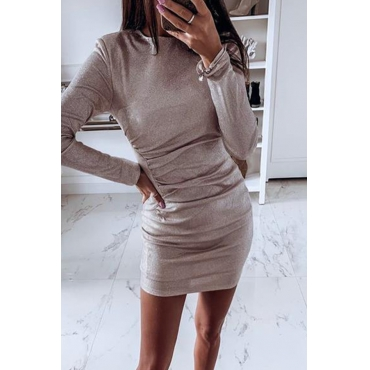 Lovely Casual O Neck Khaki Mini Dress