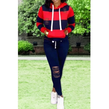 Lovely Casual Hooded Collar Hollow-out Red Two-piece Pants Set
