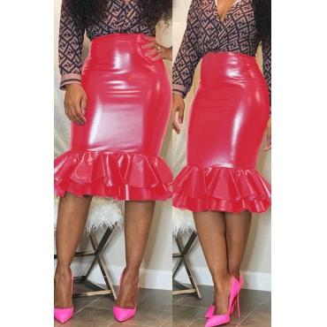 Lovely Chic Flounce Design Red Knee Length Skirt