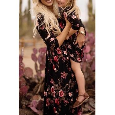 Lovely Bohemian  Printed Black Mother Ankle Length Dress