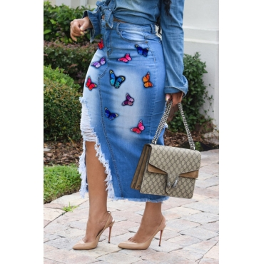 Lovely Casual Embroidered Design Blue Mid Calf Skirt