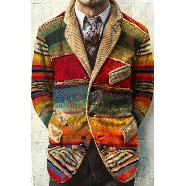 Lovely Trendy Corduroy Red Blazer