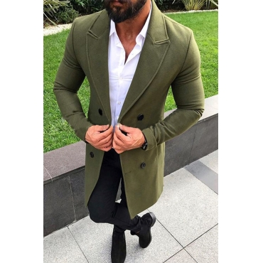 Lovely Trendy Turndown Collar Buttons Design Army Green Coat