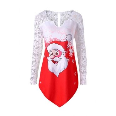Lovely Sweet Santa Claus Printed Red T-shirt