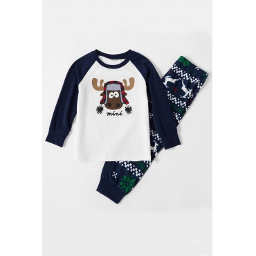 Lovely Family Printed Blue Boys Two-piece Pants Set