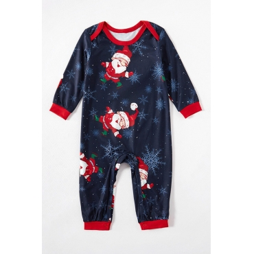 Lovely Family Santa Claus Printed Blue Baby One-piece Jumpsuit