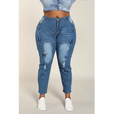 Lovely Casual Embroidered Design Royal Blue Plus Size Jeans