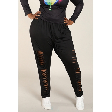 Lovely Plus-size Broken Holes Black Leggings