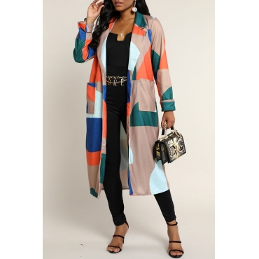 Lovely Casual Color-lump Multicolor Trench Coat