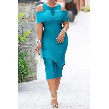 Lovely Work Cold Shoulder Blue Mid Calf Dress