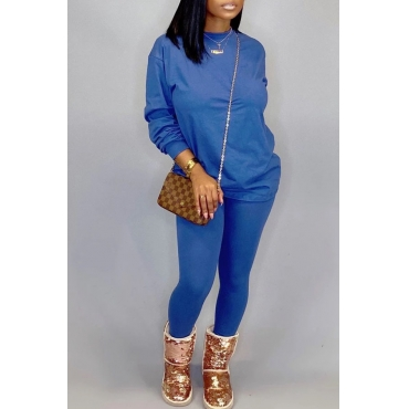 Lovely Leisure O Neck Basic Blue Two-piece Pants Set