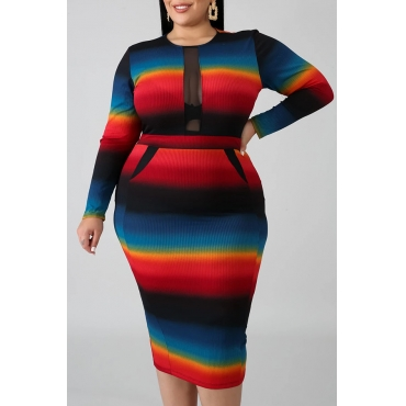 Lovely Casual Patchwork Multicolor Mid Calf Plus Size Dress