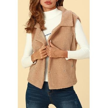 Lovely Trendy Buttons Decorative Light Coffee  Vests