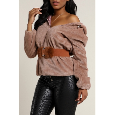Lovely Casual Patchwork Dusty Pink Sweatshirt Hoodie(Without Belt)