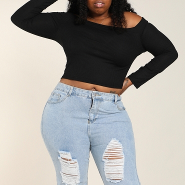 Lovely Casual Basic Black Plus Size T-shirt