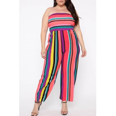 Lovely Casual Striped Multicolor Plus Size One-Piece Jumpsuit