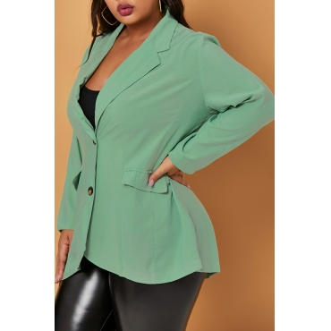 Lovely Trendy Basic Light Green Plus Size Blazer