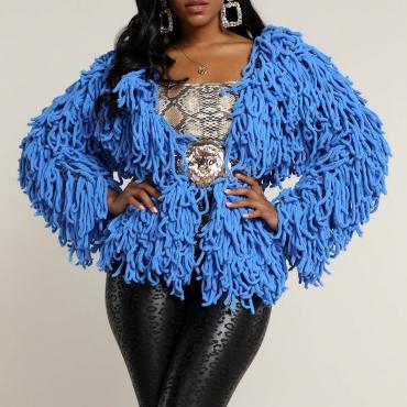 Lovely Trendy Tassel Design Blue Coat