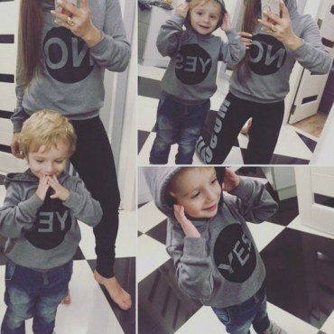Lovely Family Hooded Collar Letter Grey Mother Hoodie