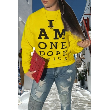 Lovely Casual O Neck Printed Yellow Sweatshirt Hoodie