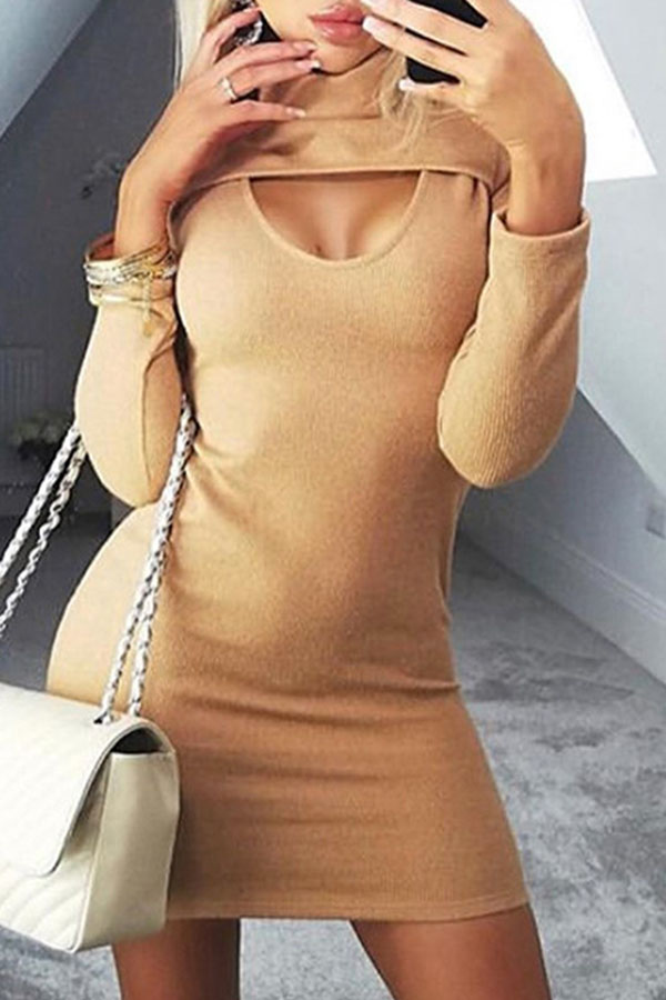 Lovely Casual Turtleneck Hollow-out Apricot Mini Dress