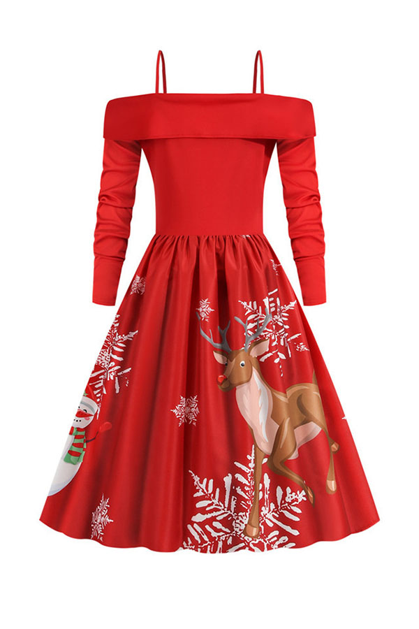 Lovely Christmas Day Ruffle Design Printed Red Mid Calf Dress