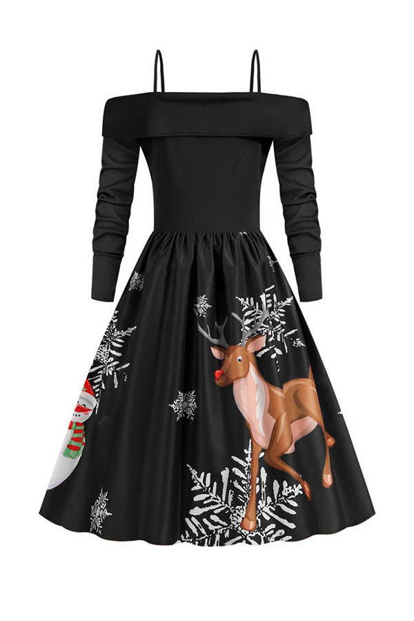 Lovely Christmas Day Ruffle Design Printed Black Mid Calf Dress