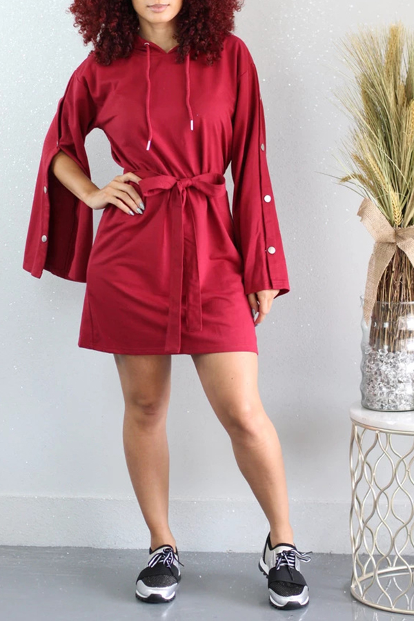 Lovely Leisure Hooded Collar Buttons Design Red Mi