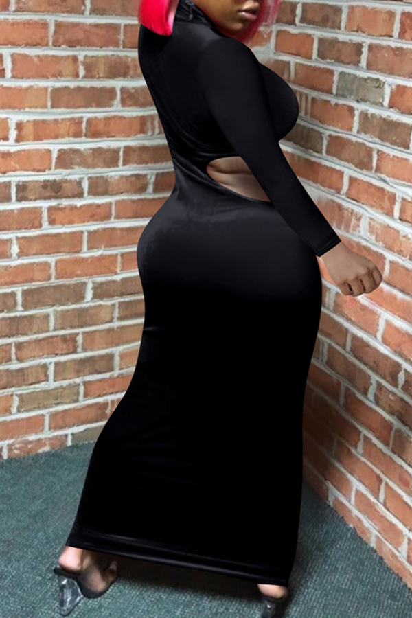 Lovely Sexy Turtleneck Hollow-out Black Ankle Length Dress