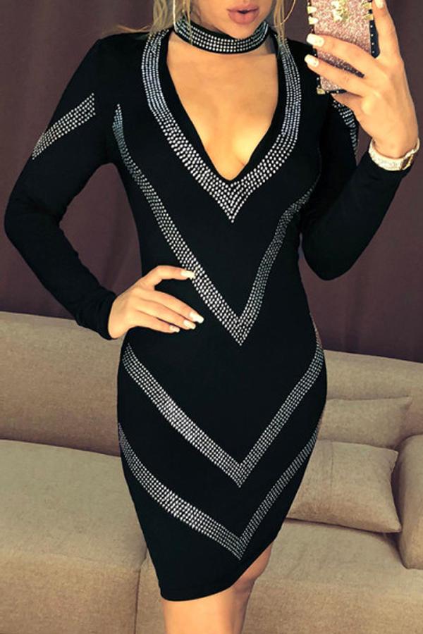 Lovely Party V Neck Hot Drilling Decorative Black Mini Dress