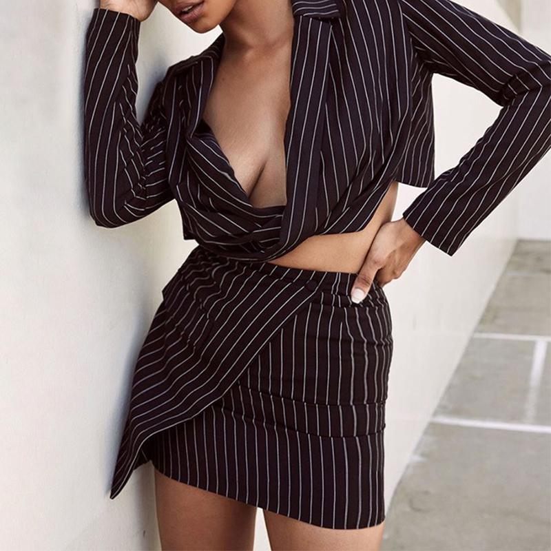Lovely Work Turn-back Collar Striped Black Two-piece Skirt Set