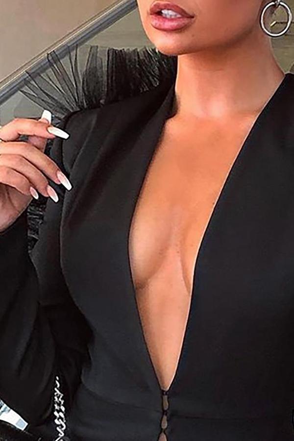 Lovely Work Deep V Neck Black Shirt