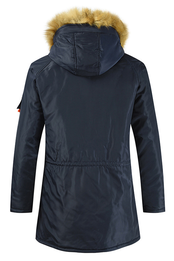 Lovely Casual Pockets Design Navy Blue Cotton-padded Clothe