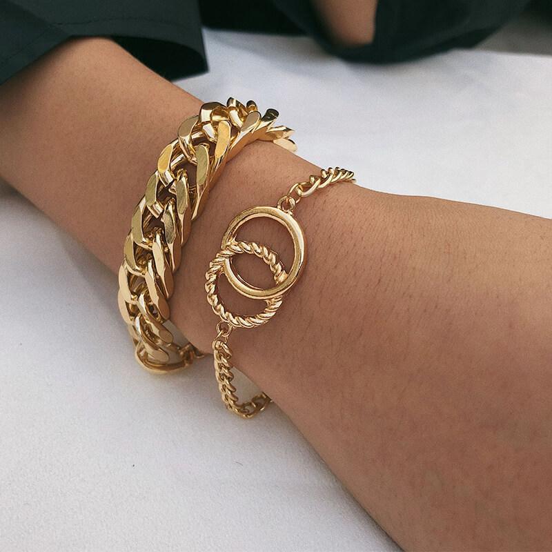 Lovely Trendy Hollow-out Gold Bracelet